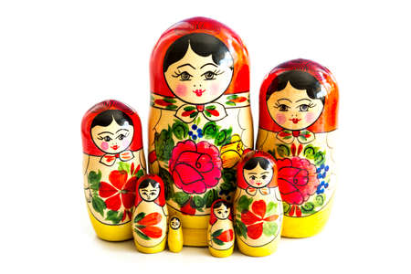 Traditional Russian matryoshka dolls isolated on a white background. Banque d'images
