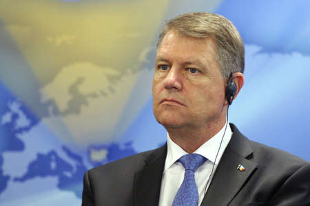 klaus: Sofia, Bulgaria - June 15, 2016: The President of Romania Klaus Iohannis is participating in a press conference in Sofia during his two days official visit in Bulgaria. Editorial