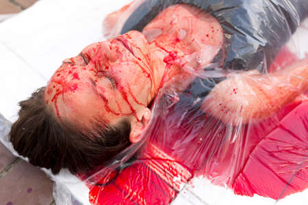 activists: Sofia, Bulgaria - June 21, 2016: Vegans and vegetarians animal rights activists covered themselves in blood and wrapped themselves in meat packaging protesting against killing animals for meat or clothing.