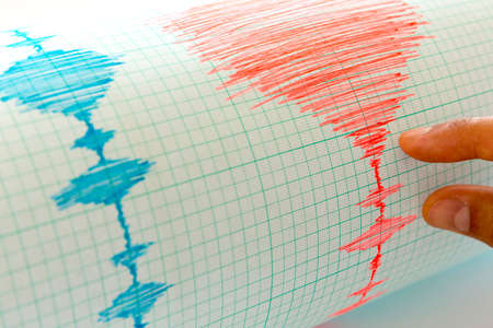sismogr�fo: Sismol�gico dispositivo para medir los terremotos. la actividad sismol�gica viven en la hoja de papel de medici�n.