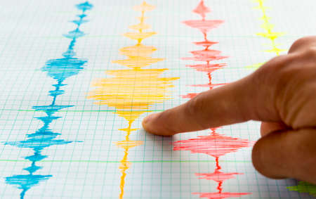 Seismological device for measuring earthquakes. Seismological activity live on the sheet of measuring paper.