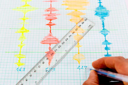 sismogr�fo: Seismological device for measuring earthquakes. Seismological activity live on the sheet of measuring paper.