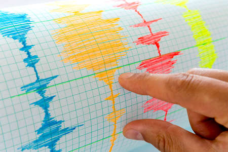 earthquakes: Seismological device for measuring earthquakes. Seismological activity live on the sheet of measuring paper.