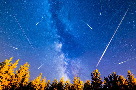 A view of the stars of the Milky Way with a pine trees forest in the foreground. Night sky nature summer landscape. Meteor Shower. Falling stars. Comets. Perseid Meteor Shower in 2016. Stock Photo