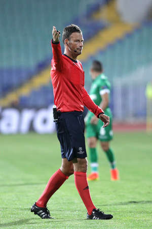 Sofia, Bulgaria - August 17, 2016: Football referee Mark Clattenburg is on Bulgarias national stadium during the match between PFC Ludogorets 1945 and FC Victoria Pilzen. Editorial