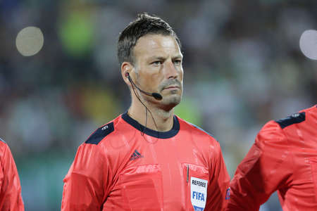 Sofia, Bulgaria - August 17, 2016: Football referee Mark Clattenburg is going out on Bulgarias national stadium before the match between PFC Ludogorets 1945 and FC Victoria Pilzen.