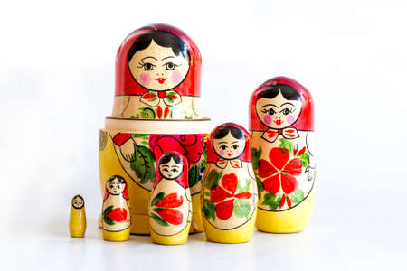 Traditional Russian matryoshka dolls isolated on a white background. Stock Photo