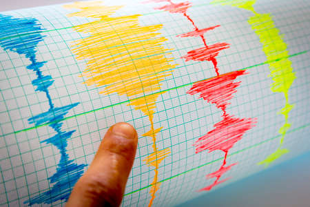 earthquakes: Seismological device for measuring earthquakes. Seismological activity lines on the sheet of measuring paper. Earthquake wave on graph paper. Vignette image. Human finger showing a detail.