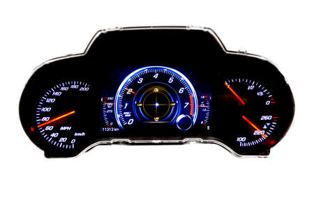 Dashboard and digital display of a modern car, mileage, fuel consumption, speedometer.New and colorful light indicators isolatred on a white background. Closeup. Miles per hour - MPH.