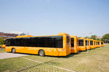 public transportation: New modern busses for public transportation are shown in a row from the backs in a parking lot. Stock Photo