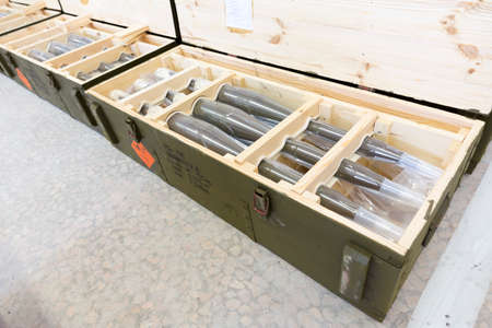 defense facilities: Green boxes with RPGs in one of Bulgarias arms factory. The facility produces and assembles rocket-propelled grenades (RPG), RPG-7 launchers, RPG war heads, detonators, land mines and others.