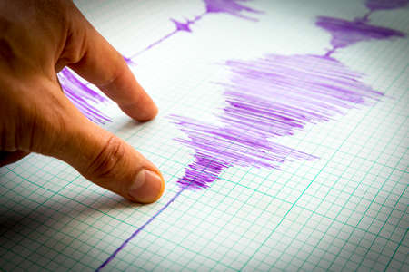 sismográfo: Sismológico dispositivo para medir los terremotos. líneas de actividad sismológicos en la hoja de papel de medición. ola terremoto en papel cuadriculado. imagen Ilustración. dedo humano que muestra un detalle.