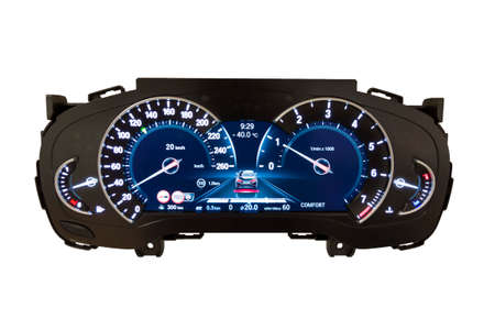 Dashboard and digital display of a modern car, mileage, fuel consumption, speedometer. New and colorful light indicators isolatred on a white background. Closeup. Kilometers per hour - KPH.