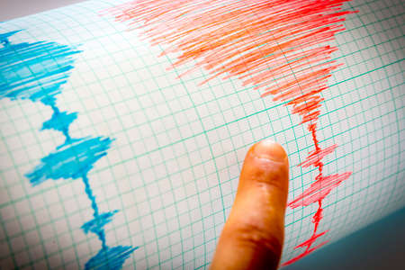 Seismological device for measuring earthquakes. Seismological activity lines on the sheet of measuring paper. Earthquake wave on graph paper. Vignette image. Human finger showing a detail.