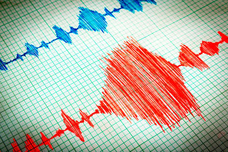 seismology: Seismological device for measuring earthquakes. Seismological activity lines on the sheet of measuring paper. Earthquake wave on graph paper. Vignette image. Stock Photo