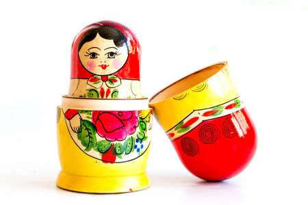 matroshka: Traditional Russian matryoshka dolls isolated on a white background. Stock Photo