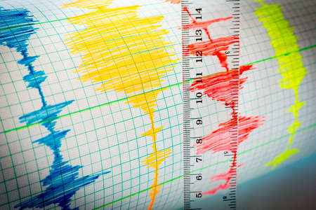 seismology: Seismological device for measuring earthquakes. Seismological activity lines on the sheet of measuring paper. Earthquake wave on graph paper. Vignette image. Ruler.