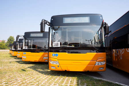 busses: New modern busses for public transportation are shown in a row from the front in a parking lot. Stock Photo