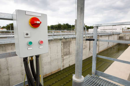 environmental issues: Wastewater treatment plant switchboard. Wastewater treatment is a process used to convert dirty wastewater into an effluent that can be either returned to the water cycle with minimal environmental issues or reused. Stock Photo