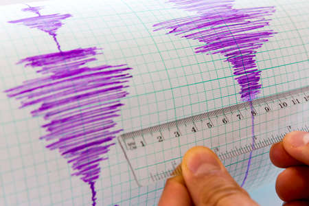 seismology: Seismological device for measuring earthquakes. Seismological activity lines on the sheet of measuring paper. Earthquake wave on graph paper. Vignette image. Human hand with a ruler.