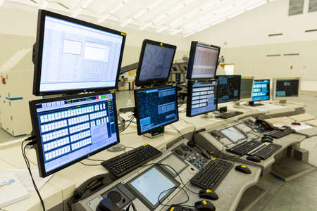 Sofia, Bulgaria - September 12, 2016: Bullgaria's Air Traffic Services Authority control center room. No people. Computer monitors.