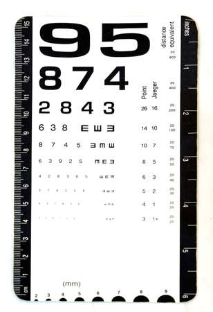 Exam card for eye vision test use by doctors in clinics. Stock Photo