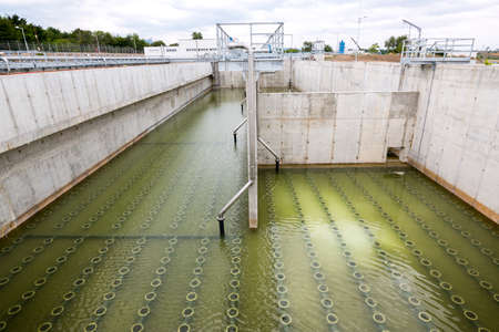 clarifier: The Solid Contact Clarifier Tank in Water Treatment plant. Modern urban wastewater treatment plant. Stock Photo