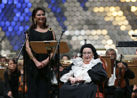repertoire: Sofia, Bulgaria - October 10, 2016: Montserrat Caballe sings with her daughter Marti Caballe and the orchestra during a concert in National Palace of Culture. Editorial