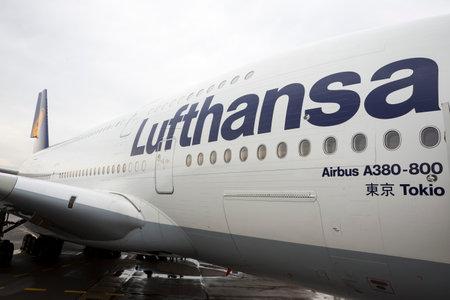 Sofia, Bulgaria - October 16, 2016: Lufthansa Airbus A380 airplane at Sofia's airport.