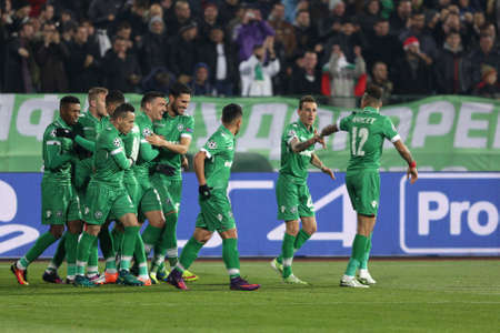 Sofia, Bulgaria - November 1, 2016: Ludogorets players celebrate after scoring during UEFA Champions League football match between Ludogorets Razgrad and Arsenal at Bulgarias National Stadium.