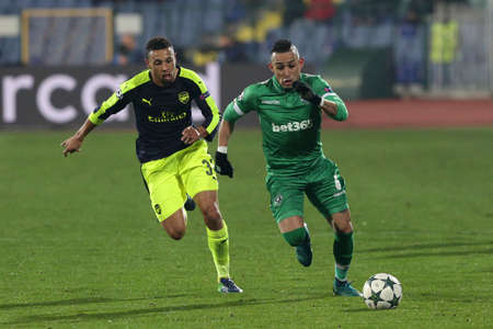 Sofia, Bulgaria - November 1, 2016: Palomino Natanael during UEFA Champions League football match between Ludogorets Razgrad and Arsenal at Bulgarias National Stadium.