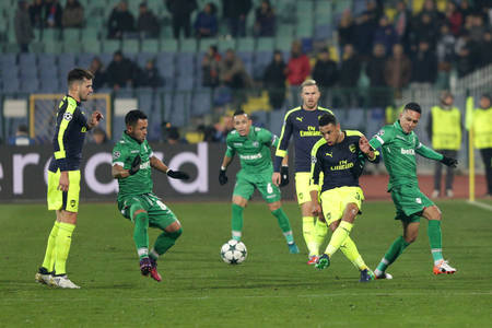 Sofia, Bulgaria - November 1, 2016: Ludogorets versus Arsenal players during UEFA Champions League football match between Ludogorets Razgrad and Arsenal at Bulgarias National Stadium. Editorial
