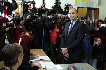 rumen: Sofia, Bulgaria - November 13, 2016: Presidential candidate Rumen Radev casts his vote at a polling station in the second round of Presidential elections in Bulgaria. Editorial