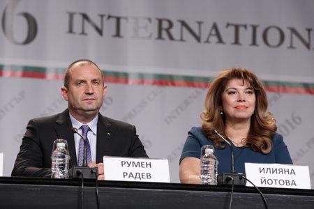 Sofia, Bulgaria - November 13, 2016: Bulgarian President-elect Rumen Radev (L) and Vice President Iliana Iotova (R) speak during a news conference after the presidential vote.