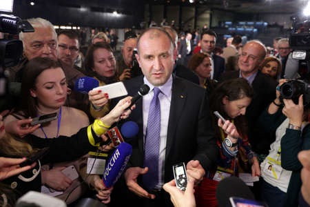 rumen: Sofia, Bulgaria - November 13, 2016: Bulgarian President-elect Rumen Radev speaks during a news conference after the presidential vote.