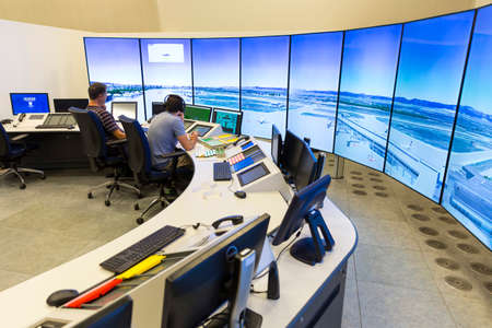 air traffic: Sofia, Bulgaria - September 12, 2016: Air traffic controllers at work in the flight control tower at Sofias airport. Editorial
