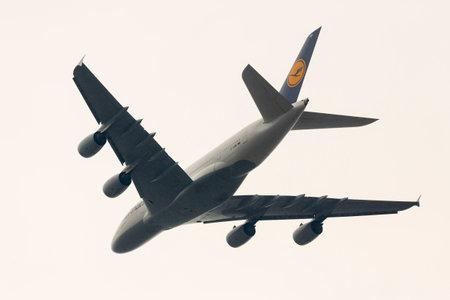 Sofia, Bulgaria - October 16, 2016: Lufthansa Airbus A380 airplane above Sofias airport.