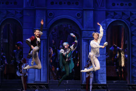 romeo and juliet: Sofia, Bulgaria - November 24, 2016: Artists of Moscow City Ballet are performing Romeo and Juliet spectacle in Bulgarias National Palace of Culture.