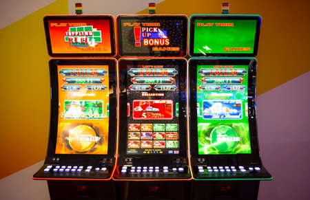 Sofia, Bulgaria - November 24, 2016: Gaming slot machines at an exhibition for casino machines and gambling equipment in Inter Expo Center in Sofia. 에디토리얼
