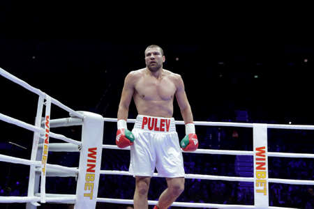Sofia, Bugaria - December 3, 2016: Boxer Tervel Pulev is seen on the ring during his boxing match with Tomislav Rudan at WBA International Heavyweigh Championship.