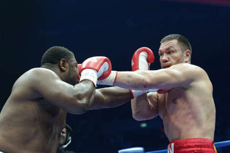 Sofia, Bulgaria - December 3, 2016: Boxer Kubrat Pulev (R) fights at the ring with Samuel Peter at WBA International Heavyweigh Championship in Arena Armeec.
