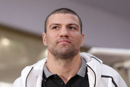 Sofia, Bulgaria - November 30, 2016: Boxer Tervel Pulev attends on a press conference before his boxing match with Tomislav Rudan at WBA International Heavyweigh Championship.