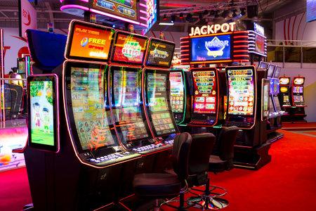 Sofia, Bulgaria - November 24, 2016: Sslot machines are seen in a casino equipment exhibition in Inter Expo Center.