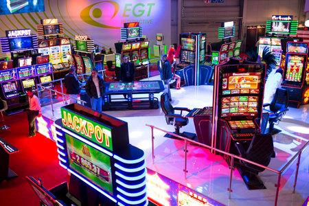 slot machines: Sofia, Bulgaria - November 24, 2016: Slot machines are seen in a casino equipment exhibition in Inter Expo Center.