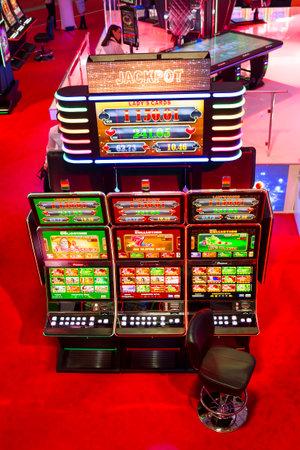 Sofia, Bulgaria - November 24, 2016: Slot machines are seen in a casino equipment exhibition in Inter Expo Center.