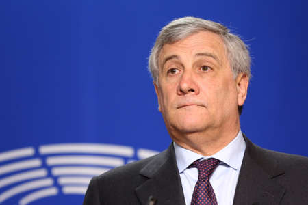 Brussels, Belgium - January 30, 2017: President of European Parliament Antonio Tajani speaks to the media after meeting Bulgarian president at European Parliaments building in Brussels. Editorial