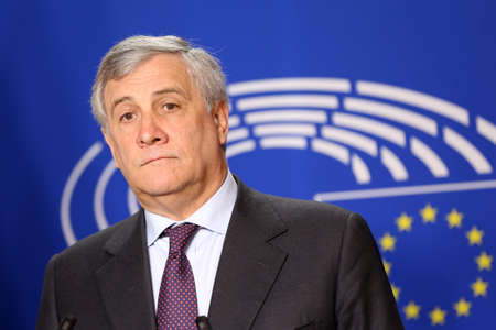 parliaments: Brussels, Belgium - January 30, 2017: President of European Parliament Antonio Tajani speaks to the media after meeting Bulgarian president at European Parliaments building in Brussels. Editorial