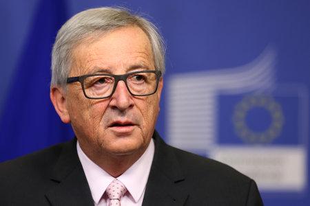 Brussels, Belgium - January 30, 2017: European Commission President Jean-Claude Juncker speaks to the media after meeting Bulgarian president at EU headquarters in Brussels.