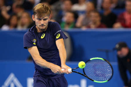 Sofia, Bulgaria - February 12, 2017: David Goffin from Belgium (pictured) plays against Grigor Dimitrov from Bulgaria during the final match from Sofia Open 2017 tennis tournament.