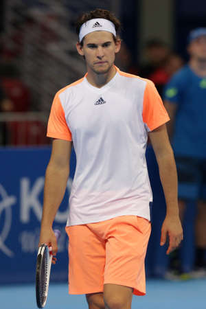 Sofia, Bulgaria - February 9, 2017: Dominic Thiem (pictured) from Austria plays against Nikoloz Basilashvili from Georgia during a match from Sofia Open 2017 tennis tournament.